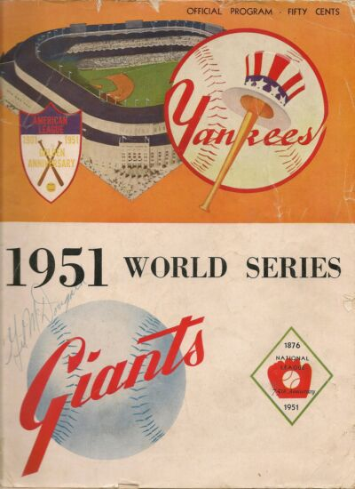 1951 World Series Program Yankees-Giants GM 1,2 or 6 Yanks Win Crown!