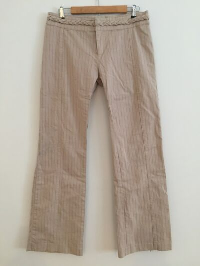 *RESCUE CHARITY LISTING* YA-YA BRAIDED WAIST PINSTRIPE PANTS-BEIGE-$224-10 LONG