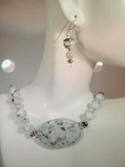 "Sesame Jasper Bead 18"" Necklace hand made silver tone"