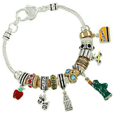 New York City NYC Theme Charm Bracelet Metallics.
