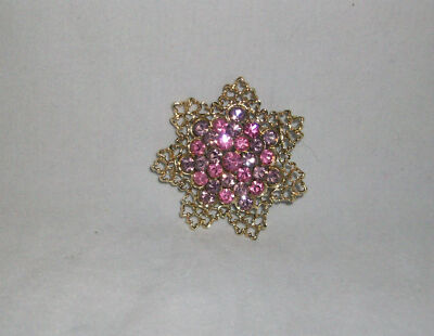 Pin Brooch Pink Purple Rhinestones Domed Flower Lacy Goldtone Metal Unique