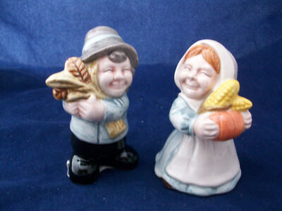 Salt Pepper Shakers Peasant Boy Girl Smiling Ceramic Figural Adorable