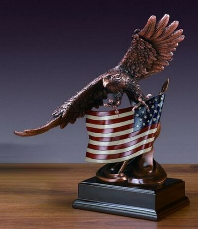 Flag & Eagle 13 x 15.5  Beautiful Bronze Statue / Sculpture Brand New