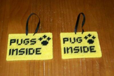 Brand New Handmade Needlepoint Pet Emergency Sign PUG PUGS 4 Dog Rescue Charity