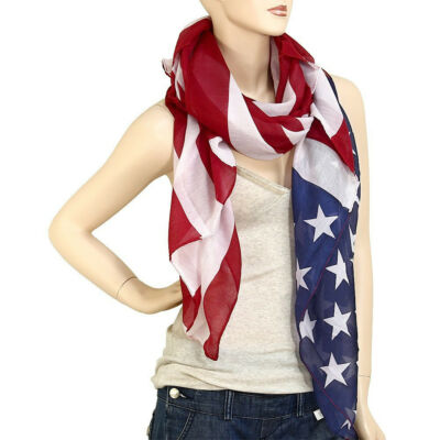Free Shipping Large USA American Flag Scarf Wrap Soft Lightweight #22