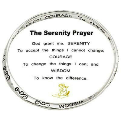 The Serenity Prayer Bracelet Bangle Message on Bangle Silvertone,