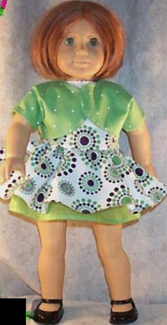 "Doll Clothes fit American Girl 18"" inch Dress Shrug Lime Plum Underskirt 3 pcs"