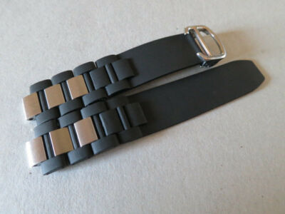 20mm Rubber Watch Strap Band & Deployment Buckle Fit for Cartier 21 Chronoscaph