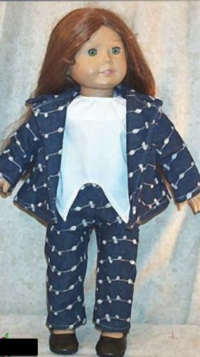"Doll Clothes fit American Girl 18"" inch Jean Jacket Set 3 pcs Denim White Flower"