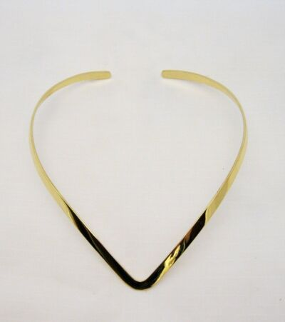 New Shiny Gold Tone V Shaped Choker Collar Necklace (CV4)