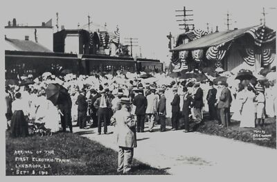 LIRR LYNBROOK STA, PT TOWER, LONG ISLAND NY 1910 1st ELECTRIC TRAIN CELEBRATION