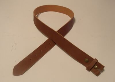 "Pull-up Leather Belt Strap with Snaps Genuine Leather Made in USA 1.5"" Sz 34-52"