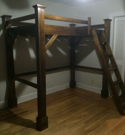 Custom Poplar Wood Post and Beam Loft Bunk Bed UN-Finished