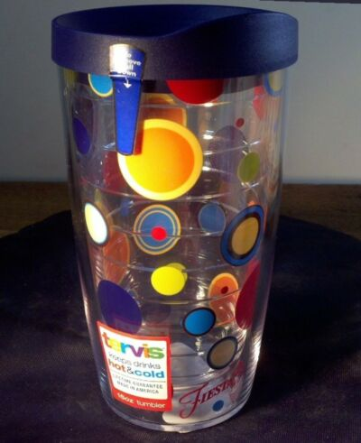 TERVIS Tumbler FIESTA Colorful DOTS Dancing Lady Logo 16 oz NEW Navy Lid