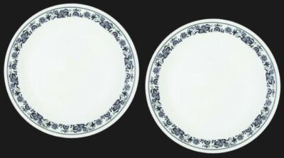 """2 Corelle OLD TOWN BLUE Onion 10-1/4"""" Dinner Plates NICE Corning Retired"""