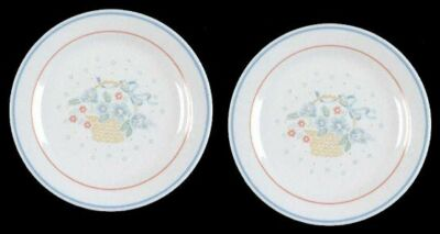 "2 Corelle COUNTRY CORNFLOWER 7-1/8"" Salad Cake B&B Plates Retired Floral Basket"