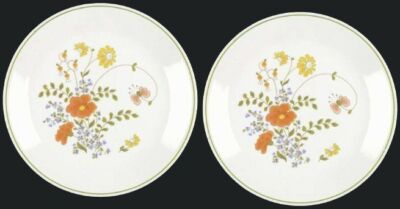 "2 Corelle WILDFLOWER 10-1/4"" Dinner Plates Early Floral Retired Corning Pattern"