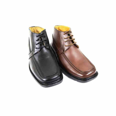NEW! Men's Ankle Oxford Lace Up Boots Leather Insole/Lining Dress Shoe (DARK-03)