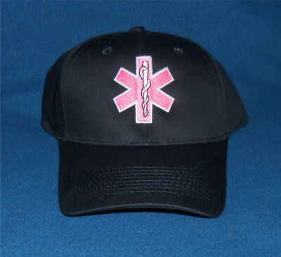 EMT / EMS  Navy Blue Cap Hat Pink Star of Life % of each sale to Cancer Research