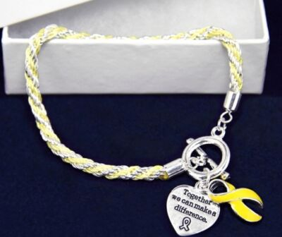 #9038 --YELLOW AWARENESS RIBBON BRAIDED ROPE HEART CHARM TOGGLE BRACELET -WOW!