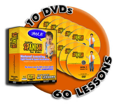 Spanish for Kids! Box Set = 60 Interactive Lessons on 10 DVDs + FREE Worksheets