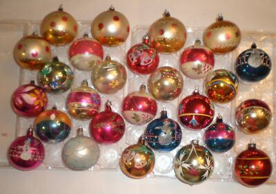 Lot 27 VTG 60s Poland Snowman Floral Bell HP Large Glass Christmas Ornaments