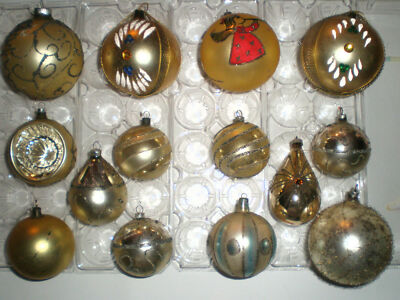 Lot 14 VTG Glass Xmas Ornaments Poland Austria Glitter Mica Jewels Gold Wire