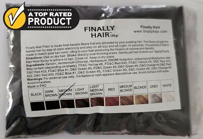 KERATIN HAIR BUILDING FIBER REFILL FINALLY HAIR LOSS CONCEALER 25g 15 HAIR COLOR