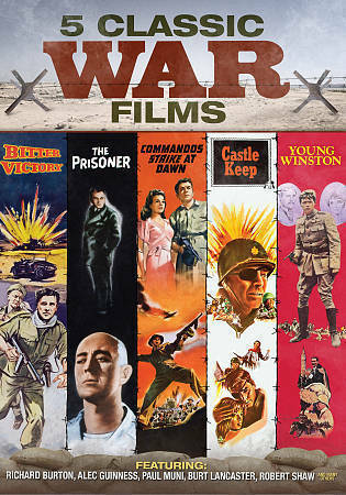 Classic War Movies - 5 Films - Young Winston, The Prisoner, Commandos Strike at