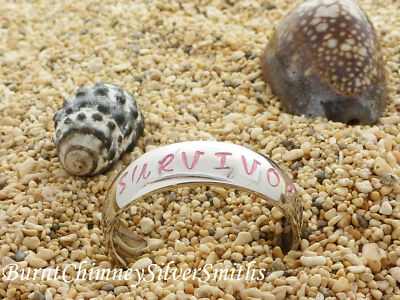 "Personalized Stainless Steel Name Ring Hand/Stamped ""Survivor"" Cancer Awareness"
