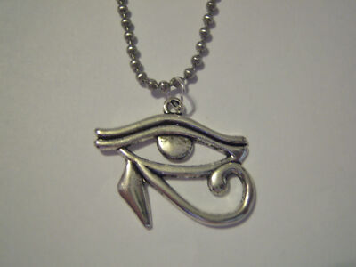 Silver Plated Eye of Horus or Ra Pendant on Stainless Steel Ball Chain Necklace