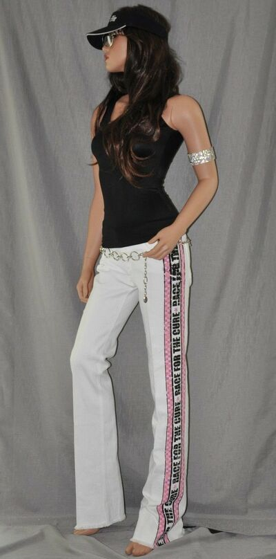 Breast Cancer Pink Susan G Komen Race for the Cure Jeans White Made in the USA