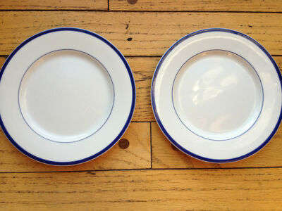 Set of 2 BLOCK SPAL Lisboa Blue Portugal Bread & Butter Plates White & Blue Rim
