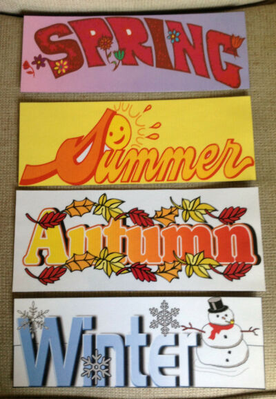 Set of 4 Season Signs for Your Elementary Classroom Decor / Calendar