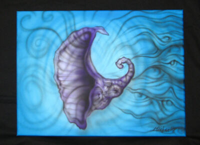 Shell Original Airbrush art Acrylic Abstract canvas Painting artist Signed