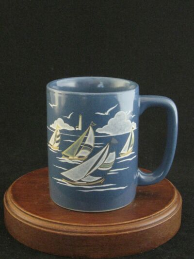 "Otagiri OMC ""Sailboats"" Fine Stoneware Blue Mug Made in Japan"