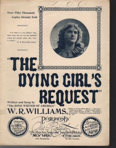 THE DYING GIRL'S REQUEST Sheet Music 1896