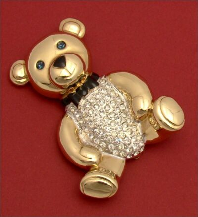Brooch Carolee Teddy Bear Limited Edition 1993 HUGE