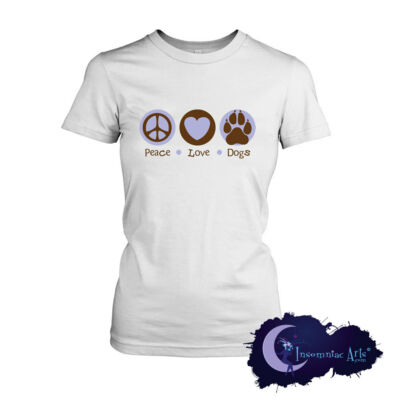 Peace Love & Dogs - Ladies Fit T-Shirt for Dog Lovers - Canine Tee