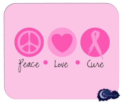 Peace Love & Cure - Breast Cancer Awareness Mousepad, Pink Ribbon Mouse Pad