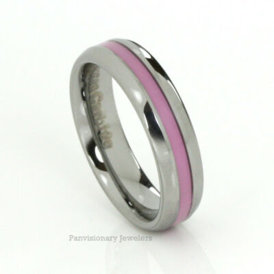 Breast Cancer Awareness Pink Tungsten Ring 6MM Dome Donations with purchase