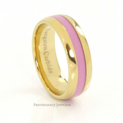 Tungsten Ring 8MM Gold IP Pink Inlay Breast Cancer Awareness Donations w purchas