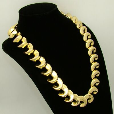 Necklace Statement Shiny Dimensional Crescent Curl Links Goldtone 23 3/4""