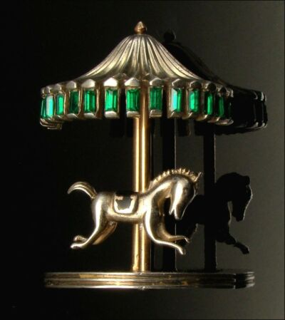 Vintage Brooch Sterling Horse Figural Merry Go Round Carousel 1946 J. Caianiello
