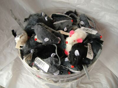 "2"" FUR MICE CAT TOYS - Bulk Lots 24/48 Real Fur Hair Cat Toys Assorted Colors"