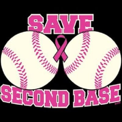 Save Second Base Baseball Breast Cancer Awareness Ribbon T-Shirt Sizes S- 6XL