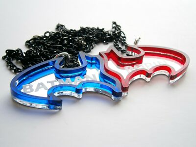 Best Friends Batman Necklaces, Friendship, Mirror/Blue/Red Plastic