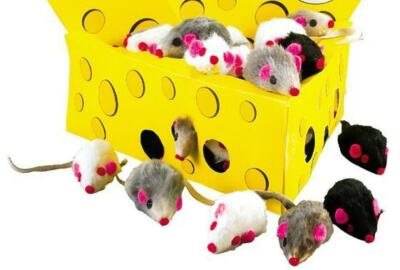 FURRY MICE - Bulk Lots 30/60 Asst Colors Real Fur Small Cat Kitten Toys