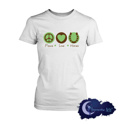 Peace Love & Horses Ladies T-Shirt for Equine Lovers, Equestrian