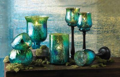 Mediterranean Tide Candle Holders - Green Blue and Gold